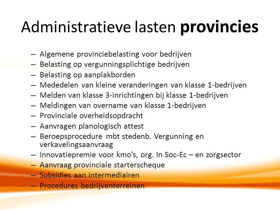 Administratieve lasten provincies – Algemene provinciebelasting voor bedrijven – Belasting op vergunningsplichtige bedrijven – Belasting op aanplakbor