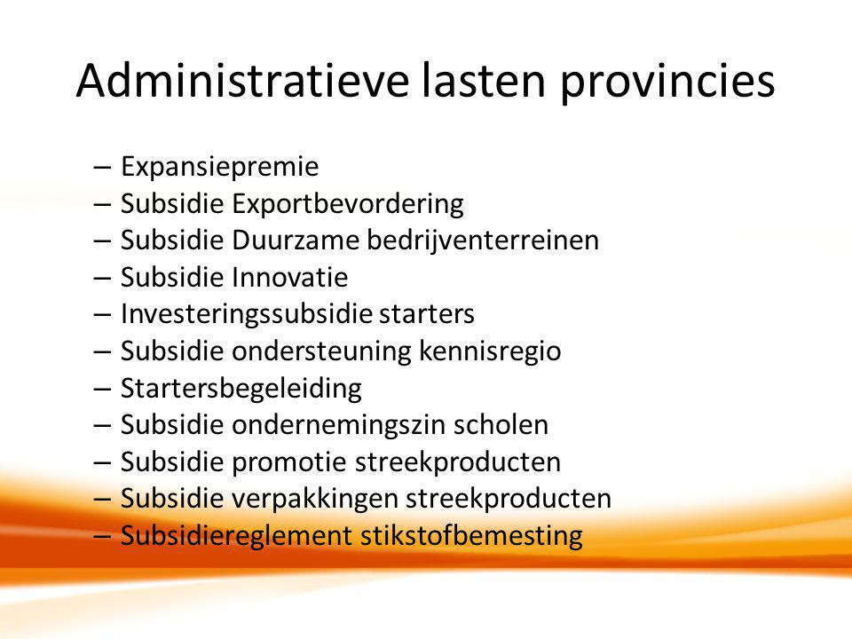 Administratieve lasten provincies – Expansiepremie – Subsidie Exportbevordering – Subsidie Duurzame bedrijventerreinen – Subsidie Innovatie – Invester