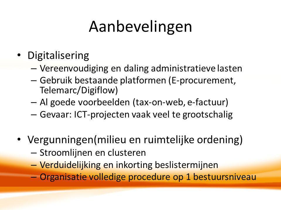 Aanbevelingen Digitalisering – Vereenvoudiging en daling administratieve lasten – Gebruik bestaande platformen (E-procurement, Telemarc/Digiflow) – Al