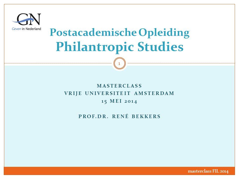Postacademische Opleiding Philantropic Studies MASTERCLASS VRIJE UNIVERSITEIT AMSTERDAM 15 MEI 2014 PROF.DR. RENÉ BEKKERS masterclass FIL 2014 1