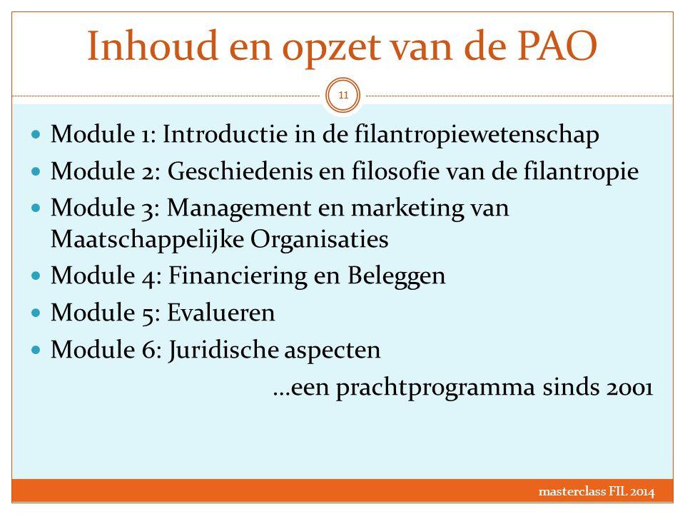 Inhoud en opzet van de PAO Module 1: Introductie in de filantropiewetenschap Module 2: Geschiedenis en filosofie van de filantropie Module 3: Manageme