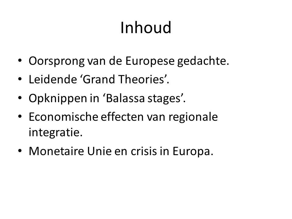Inhoud Oorsprong van de Europese gedachte. Leidende 'Grand Theories'.
