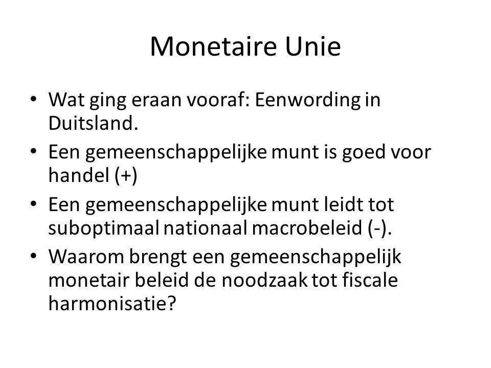Monetaire Unie Wat ging eraan vooraf: Eenwording in Duitsland.