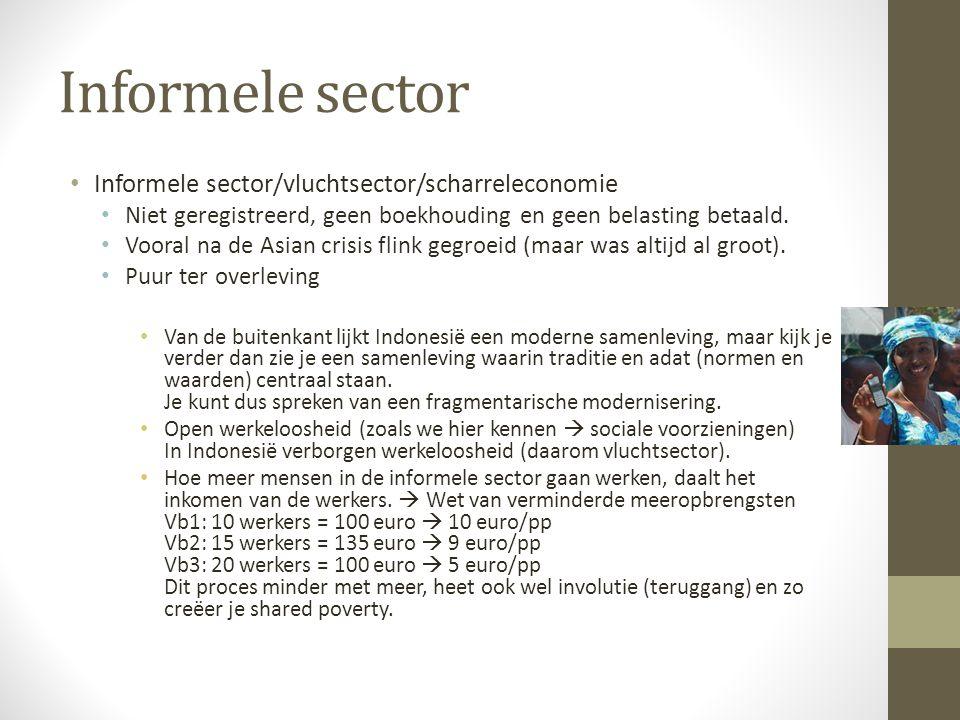 Informele sector Informele sector/vluchtsector/scharreleconomie Niet geregistreerd, geen boekhouding en geen belasting betaald.