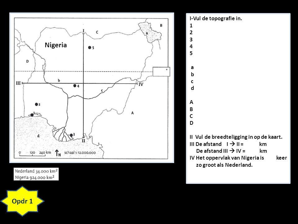 Opdr 1 I-Vul de topografie in. 1 2 3 4 5 a b c d A B C D II Vul de breedteligging in op de kaart. III De afstand I  II = km De afstand III  IV = km
