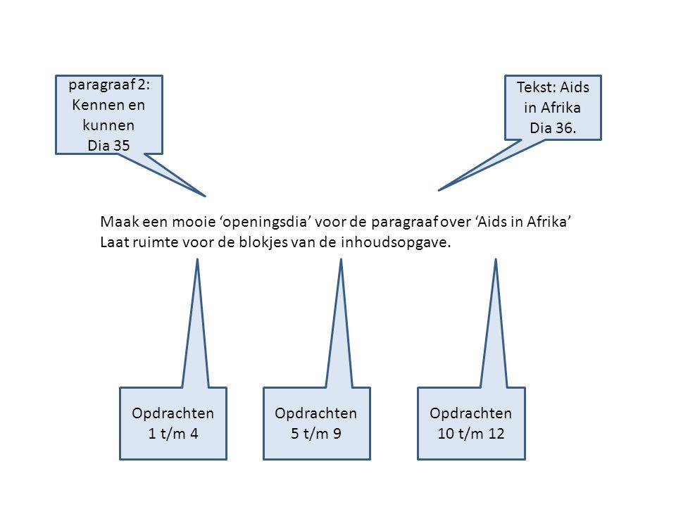 Maak een mooie 'openingsdia' voor de paragraaf over 'Aids in Afrika' Laat ruimte voor de blokjes van de inhoudsopgave. Tekst: Aids in Afrika Dia 36. p