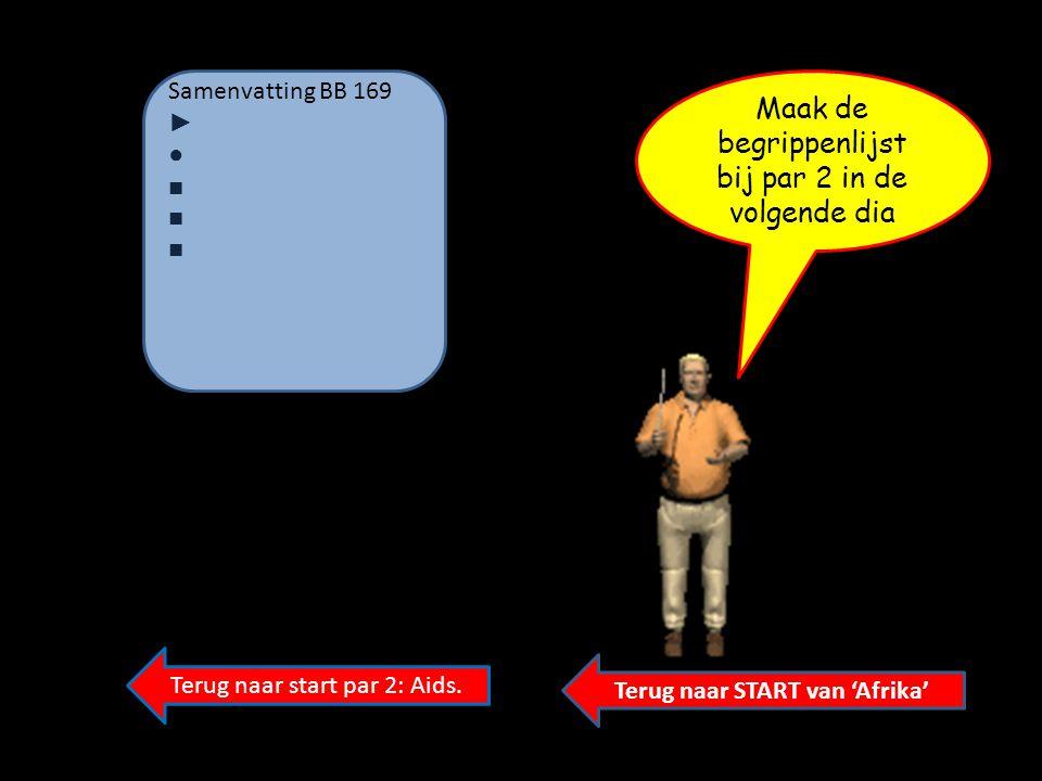 Terug naar START van 'Afrika' Terug naar start par 2: Aids. Samenvatting BB 169 ► ●■ ■ Maak de begrippenlijst bij par 2 in de volgende dia