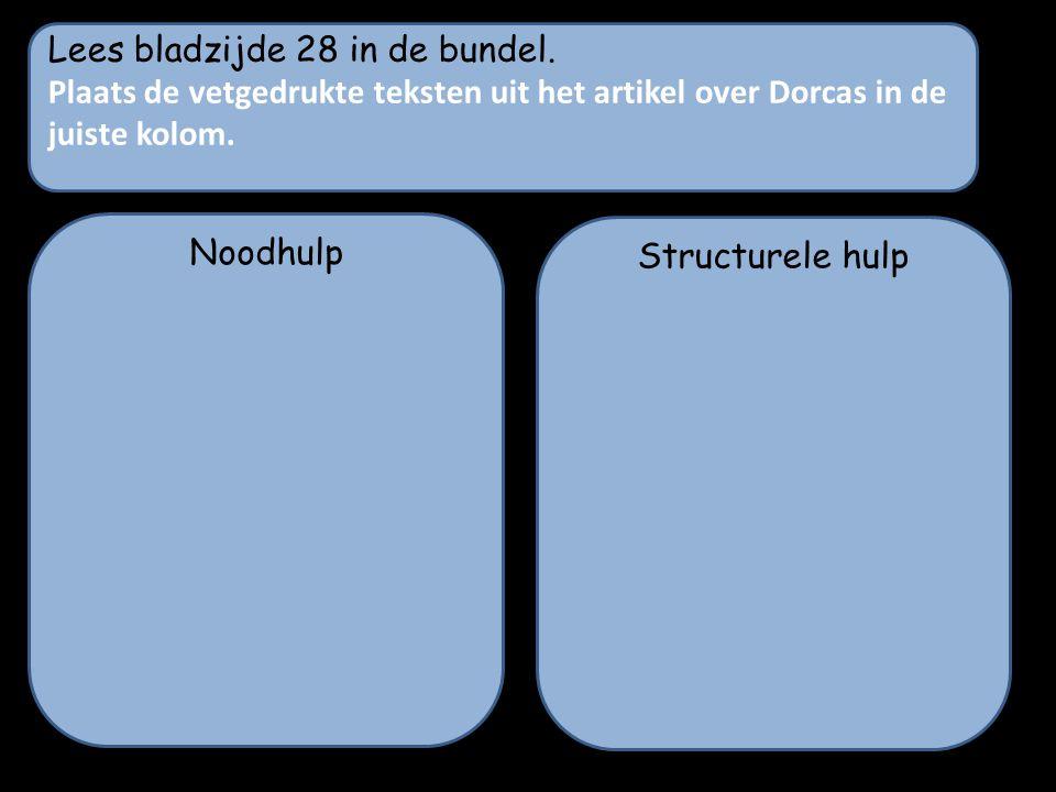Lees bladzijde 28 in de bundel. Plaats de vetgedrukte teksten uit het artikel over Dorcas in de juiste kolom. Noodhulp Structurele hulp