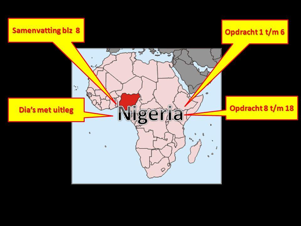 Samenvatting van Nigeria; arm en toch rijk Positief in Nigeria: … Verwaarlozing van landbouw en industrie ►Zelfverzorgend = ze verbouwen producten voor eigen consumptie.