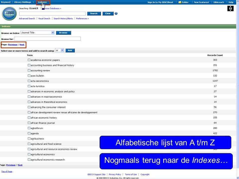 Alfabetische lijst van A t/m Z Nogmaals terug naar de Indexes…