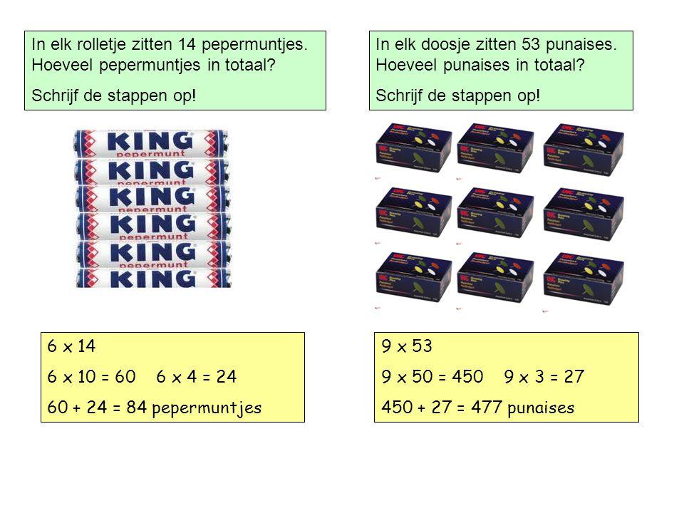 In elk rolletje zitten 14 pepermuntjes.Hoeveel pepermuntjes in totaal.