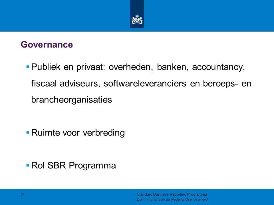 Governance  Publiek en privaat: overheden, banken, accountancy, fiscaal adviseurs, softwareleveranciers en beroeps- en brancheorganisaties  Ruimte v