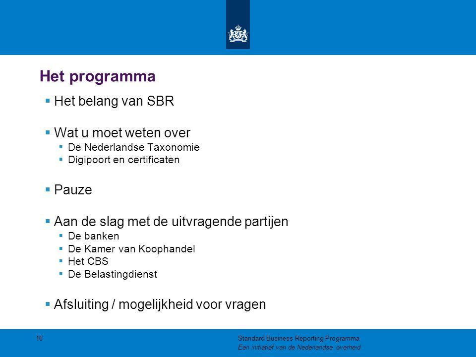Het programma  Het belang van SBR  Wat u moet weten over  De Nederlandse Taxonomie  Digipoort en certificaten  Pauze  Aan de slag met de uitvrag