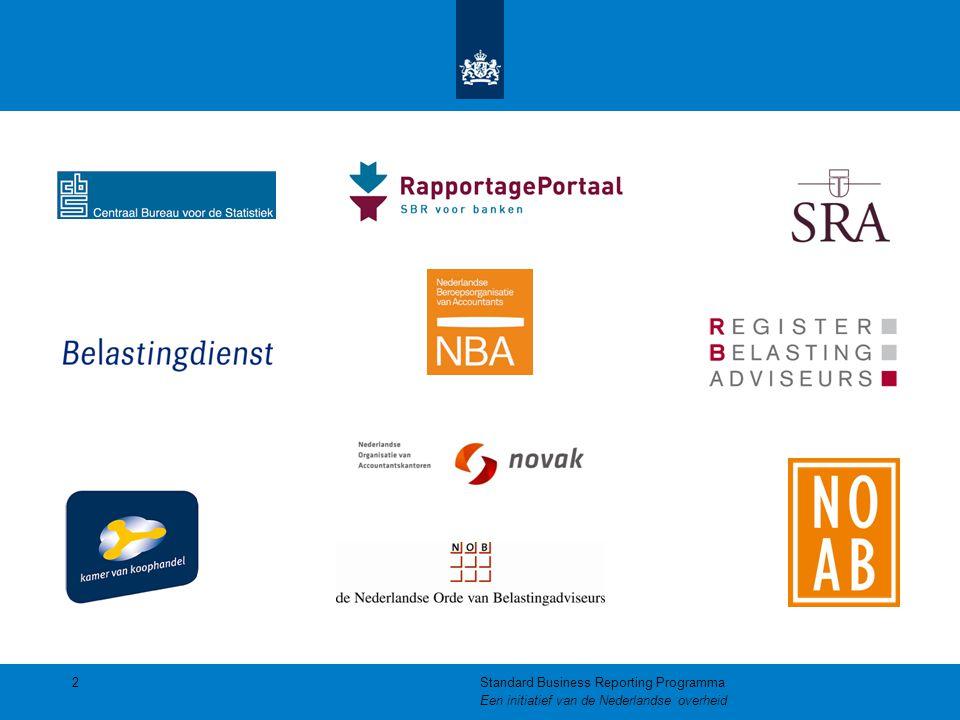 Wat kan nu al in SBR Aanlevering van:  Aangiftes (VpB / IB / OB / ICP)  Jaarrekening rechtspersonen Klein  Kredietrapportages:  Rechtspersonen Klein en Middelgroot  Natuurlijke personen (Aangifte + ) 13Standard Business Reporting Programma Een initiatief van de Nederlandse overheid