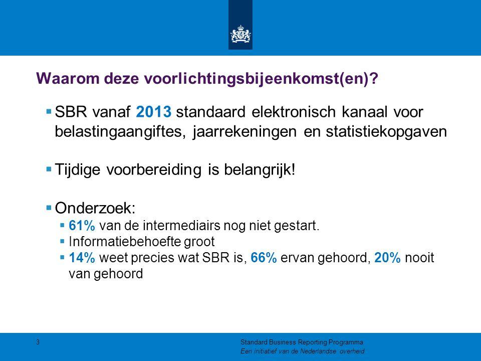 Waarom deze voorlichtingsbijeenkomst(en)?  SBR vanaf 2013 standaard elektronisch kanaal voor belastingaangiftes, jaarrekeningen en statistiekopgaven