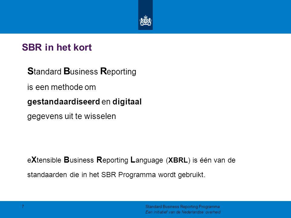 De elementen van SBR De SBR-aanpak bestaat uit drie elementen: Standaardisatie op het gebied van  Gegevens: De Nederlandse Taxonomie  Processen: Digipoort / BIV  Techniek: Gebruik van 'Open Standaarden', waaronder XBRL 8Standard Business Reporting Programma Een initiatief van de Nederlandse overheid