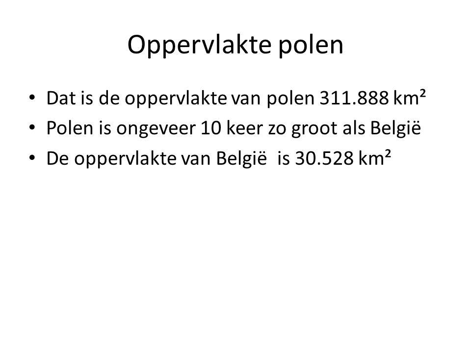 Oppervlakte polen Dat is de oppervlakte van polen 311.888 km² Polen is ongeveer 10 keer zo groot als België De oppervlakte van België is 30.528 km²