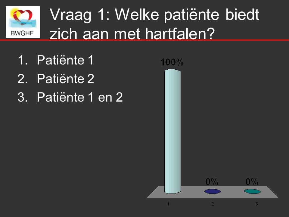 Vraag 1: Welke patiënte biedt zich aan met hartfalen? 1.Patiënte 1 2.Patiënte 2 3.Patiënte 1 en 2
