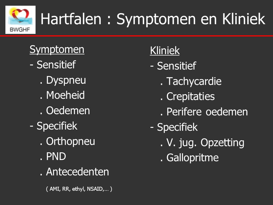 Hartfalen : Symptomen en Kliniek Symptomen - Sensitief.