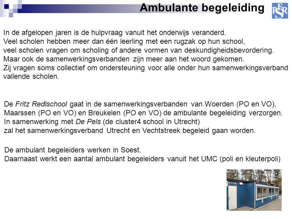 Ambulante begeleiding De Fritz Redlschool gaat in de samenwerkingsverbanden van Woerden (PO en VO), Maarssen (PO en VO) en Breukelen (PO en VO) de amb