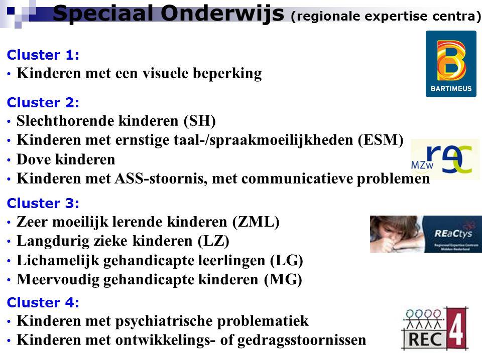 Speciaal Onderwijs (regionale expertise centra) Cluster 1: Kinderen met een visuele beperking Cluster 4: Kinderen met psychiatrische problematiek Kind