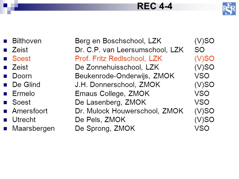 BilthovenBerg en Boschschool, LZK (V)SO Zeist Dr. C.P. van Leersumschool, LZKSO SoestProf. Fritz Redlschool, LZK(V)SO Zeist De Zonnehuisschool, LZK(V)