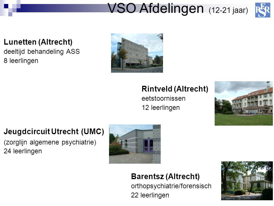 Jeugdcircuit Utrecht (UMC) (zorglijn algemene psychiatrie) 24 leerlingen Lunetten (Altrecht) deeltijd behandeling ASS 8 leerlingen Rintveld (Altrecht)