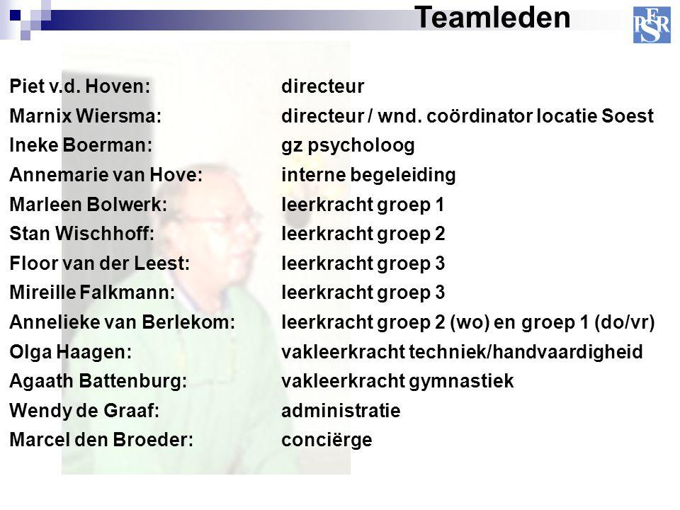 Piet v.d. Hoven: directeur Marnix Wiersma: directeur / wnd. coördinator locatie Soest Ineke Boerman: gz psycholoog Annemarie van Hove: interne begelei