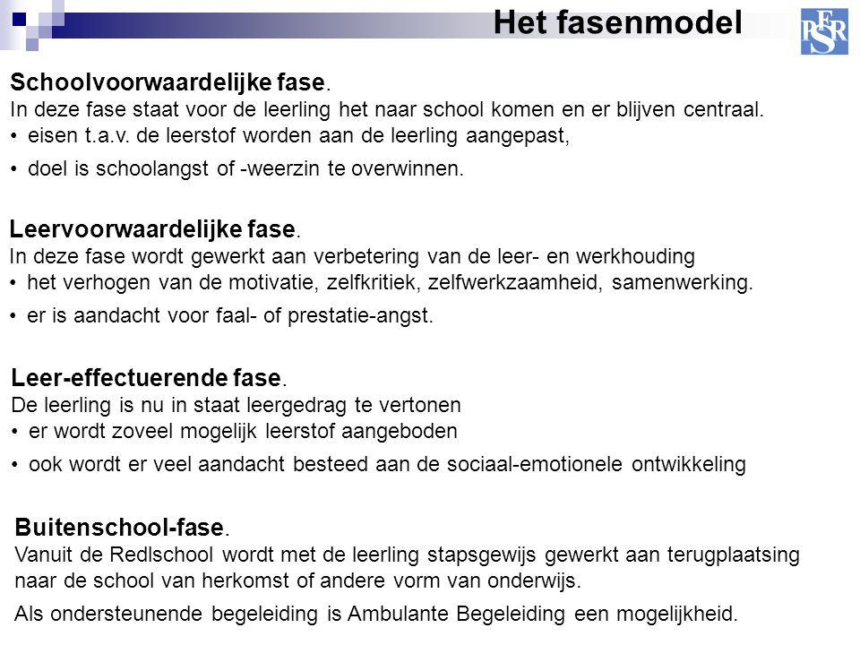 Het fasenmodel Schoolvoorwaardelijke fase. In deze fase staat voor de leerling het naar school komen en er blijven centraal. eisen t.a.v. de leerstof