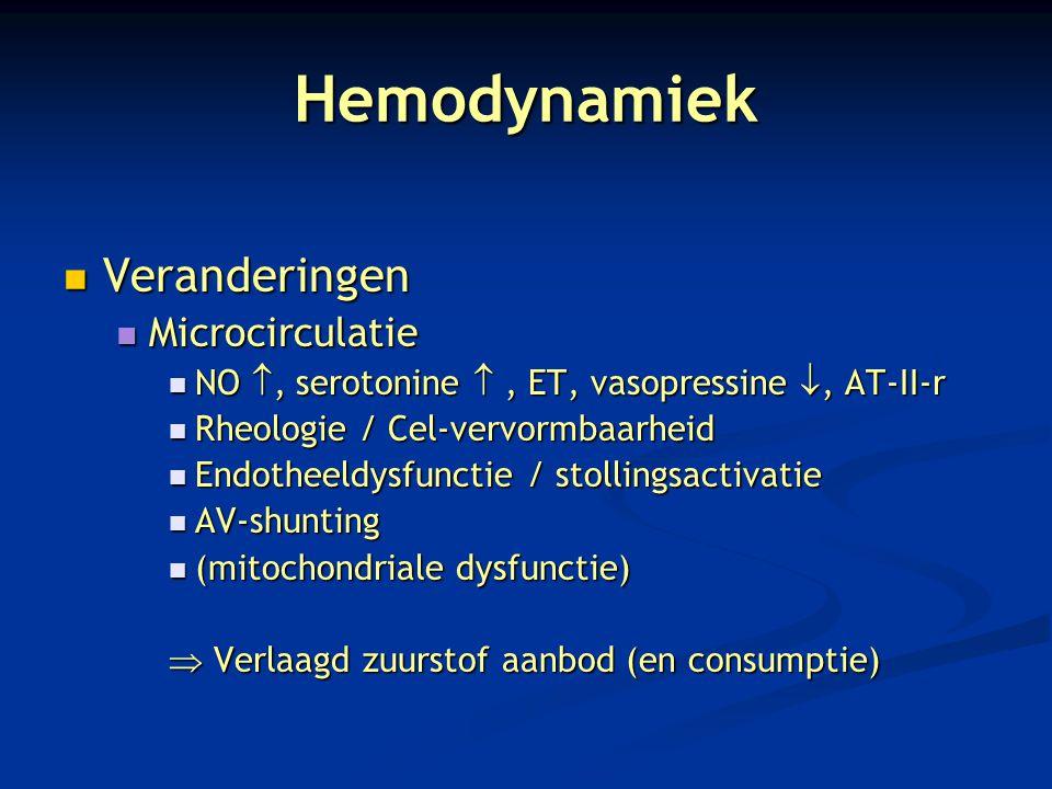 Hemodynamiek Veranderingen Veranderingen Microcirculatie Microcirculatie NO , serotonine , ET, vasopressine , AT-II-r NO , serotonine , ET, vasop