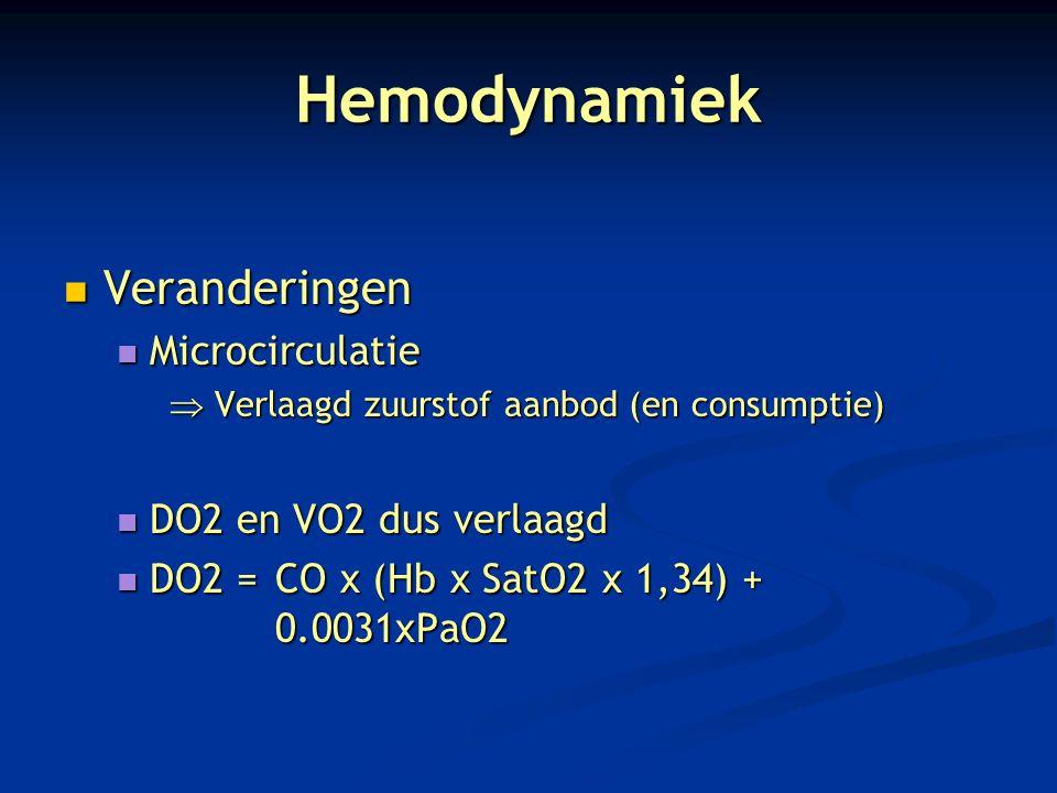 Hemodynamiek Veranderingen Veranderingen Microcirculatie Microcirculatie  Verlaagd zuurstof aanbod (en consumptie) DO2 en VO2 dus verlaagd DO2 en VO2