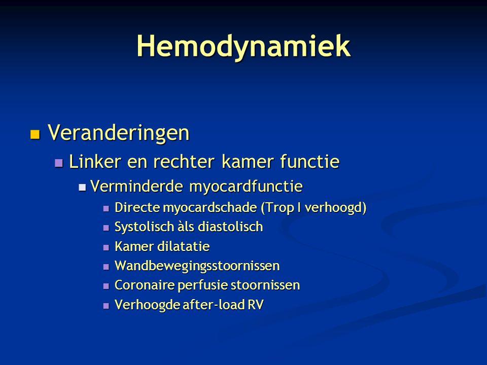 Hemodynamiek Veranderingen Veranderingen Linker en rechter kamer functie Linker en rechter kamer functie Verminderde myocardfunctie Verminderde myocar