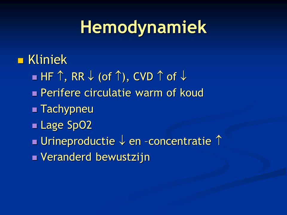 Hemodynamiek Kliniek Kliniek HF , RR  (of  ), CVD  of  HF , RR  (of  ), CVD  of  Perifere circulatie warm of koud Perifere circulatie warm o