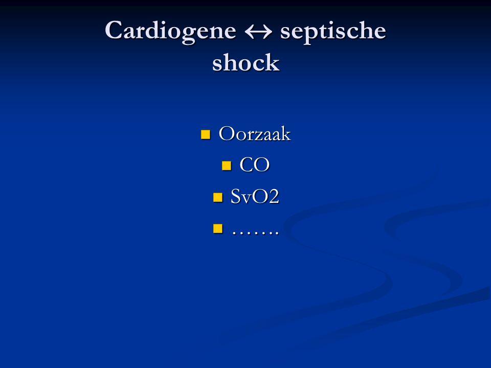Cardiogene  septische shock Oorzaak Oorzaak CO CO SvO2 SvO2 ……. …….