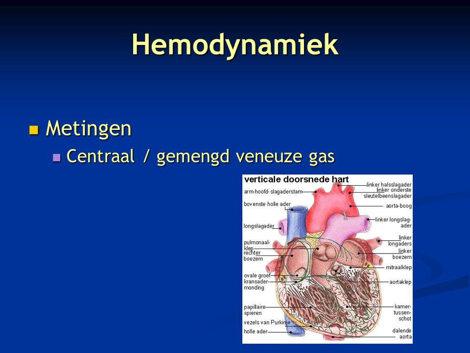 Hemodynamiek Metingen Metingen Centraal / gemengd veneuze gas Centraal / gemengd veneuze gas