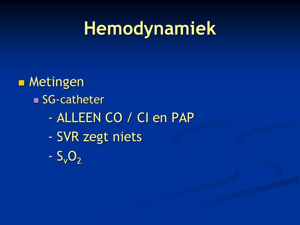 Hemodynamiek Metingen Metingen SG-catheter SG-catheter - ALLEEN CO / CI en PAP - SVR zegt niets - S v O 2