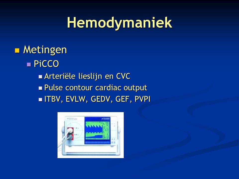 Hemodymaniek Metingen Metingen PiCCO PiCCO Arteriële lieslijn en CVC Arteriële lieslijn en CVC Pulse contour cardiac output Pulse contour cardiac outp