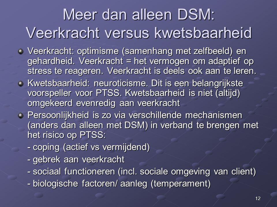 12 Meer dan alleen DSM: Veerkracht versus kwetsbaarheid Veerkracht: optimisme (samenhang met zelfbeeld) en gehardheid.