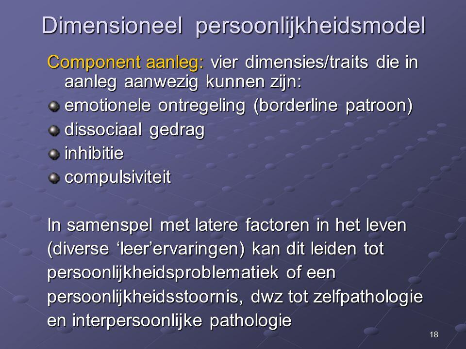 18 Dimensioneel persoonlijkheidsmodel Component aanleg: vier dimensies/traits die in aanleg aanwezig kunnen zijn: emotionele ontregeling (borderline patroon) dissociaal gedrag inhibitiecompulsiviteit In samenspel met latere factoren in het leven (diverse 'leer'ervaringen) kan dit leiden tot persoonlijkheidsproblematiek of een persoonlijkheidsstoornis, dwz tot zelfpathologie en interpersoonlijke pathologie