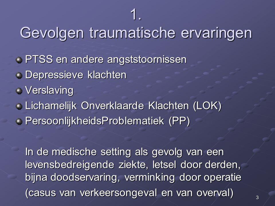 3 1. Gevolgen traumatische ervaringen PTSS en andere angststoornissen Depressieve klachten Verslaving Lichamelijk Onverklaarde Klachten (LOK) Persoonl