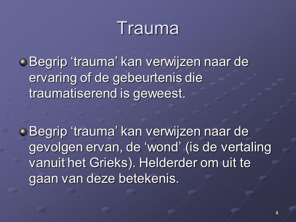 25 Behandelaanbod 'modules' voor Trauma en Persoonlijkheidsproblematiek in bovenstaande schema: ST: Module Schemagerichte Therapie, gericht op 'interne concepten' ER1 en ER2: Module Emotieregulatie deel 1 en deel 2 (ER1= MBT+DGT+PMT en ER2= CGT+PMT) NET: Narrative Exposure Therapy KEP: Korte Eclectische Psychotherapie voor PTSS EMDR: Eye Movement Desensitization Reprocessing GA: Module Grip op Agressie POW: Power Work Out MBT-A: MBT- Attitude (is impliciet) PRT: Partner relatietherapie MFT: Multi Family Therapy