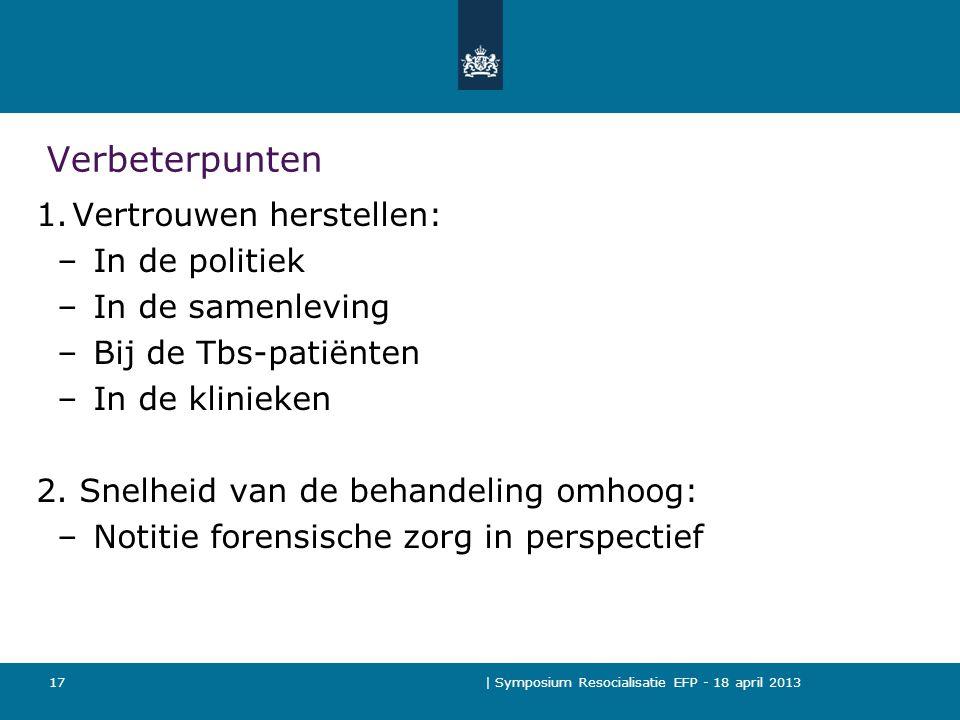 | Symposium Resocialisatie EFP - 18 april 2013 17 Verbeterpunten 1.Vertrouwen herstellen: –In de politiek –In de samenleving –Bij de Tbs-patiënten –In de klinieken 2.