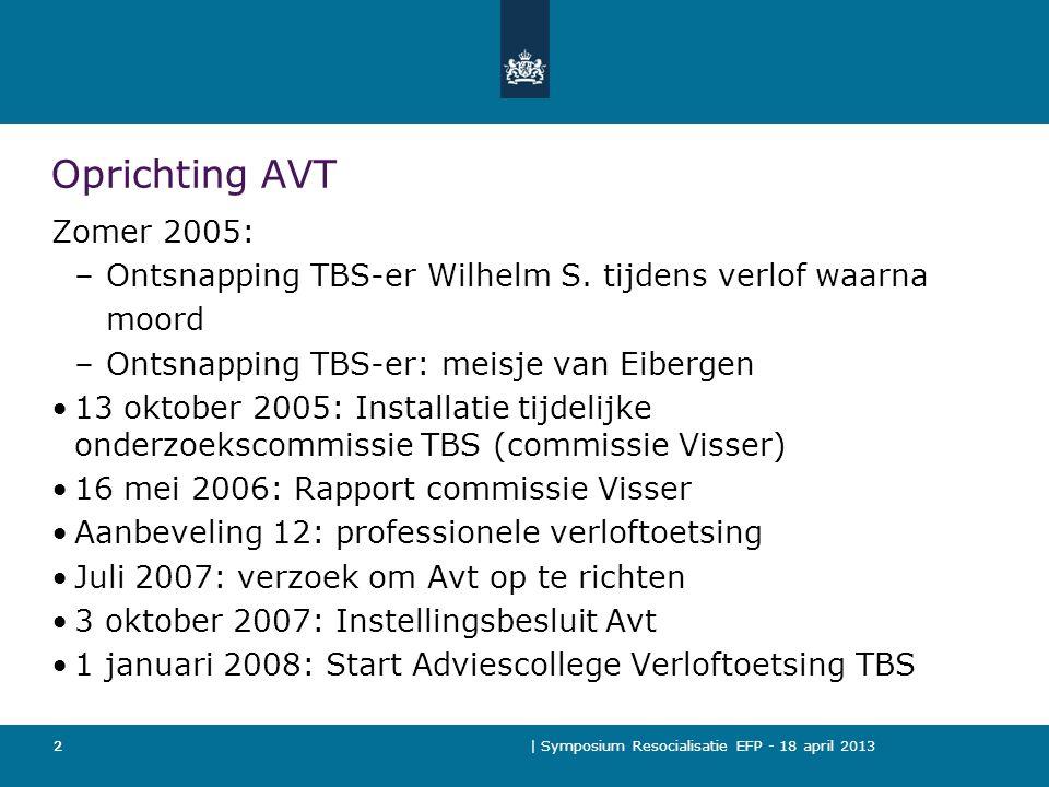 | Symposium Resocialisatie EFP - 18 april 2013 2 Oprichting AVT Zomer 2005: – Ontsnapping TBS-er Wilhelm S.
