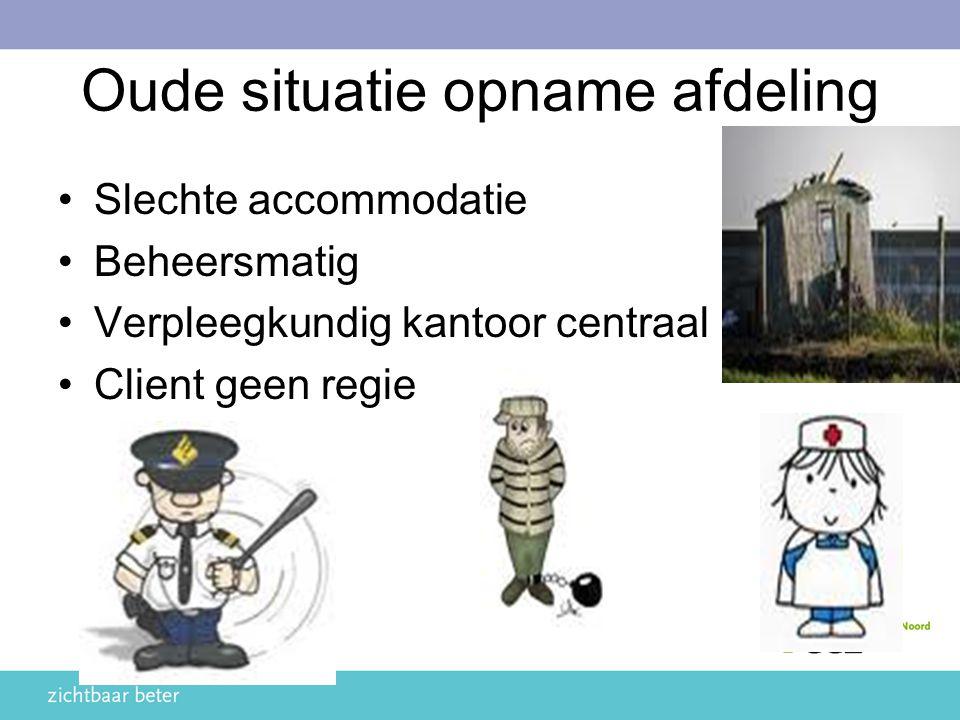 Oude situatie opname afdeling Slechte accommodatie Beheersmatig Verpleegkundig kantoor centraal Client geen regie