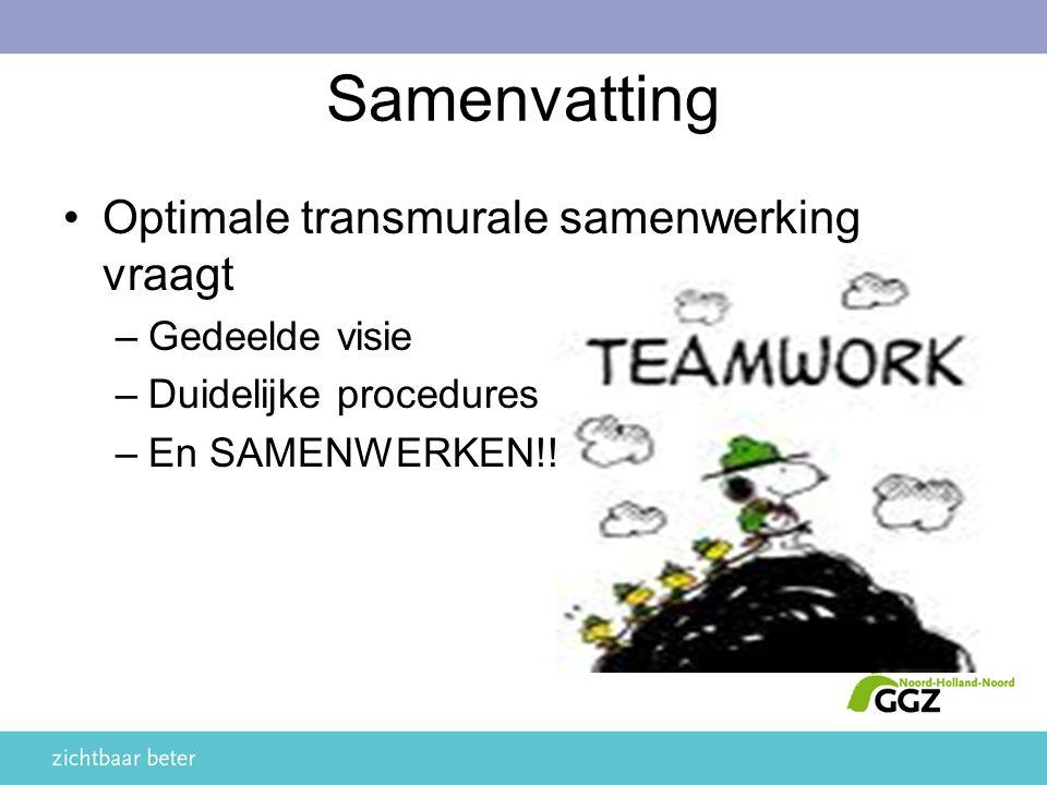 Samenvatting Optimale transmurale samenwerking vraagt –Gedeelde visie –Duidelijke procedures –En SAMENWERKEN!!