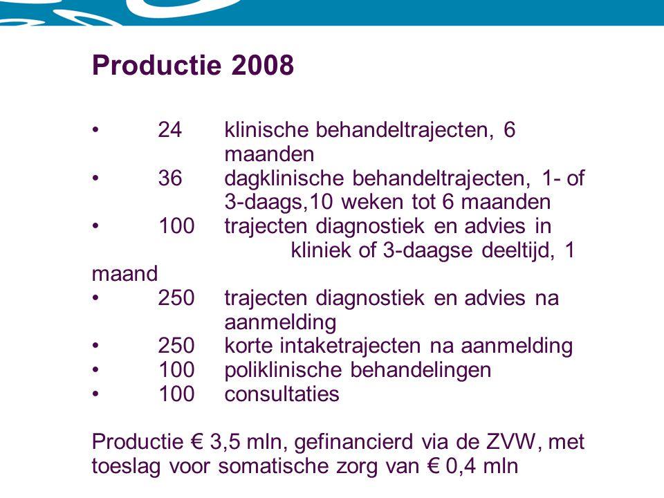 Relatief dure zorg Klinische behandeling€ 50.000,- Dagklinische behandeling 3-daags€ 30.000,- 1-daags, 6 maanden€ 5.500,- 1-daags, 10 weken€ 1.250,- Diagnostiek en advies € 2.000,-
