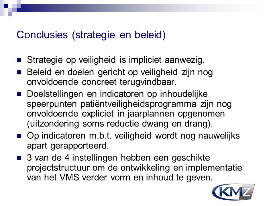 Conclusies (strategie en beleid) Strategie op veiligheid is impliciet aanwezig. Beleid en doelen gericht op veiligheid zijn nog onvoldoende concreet t