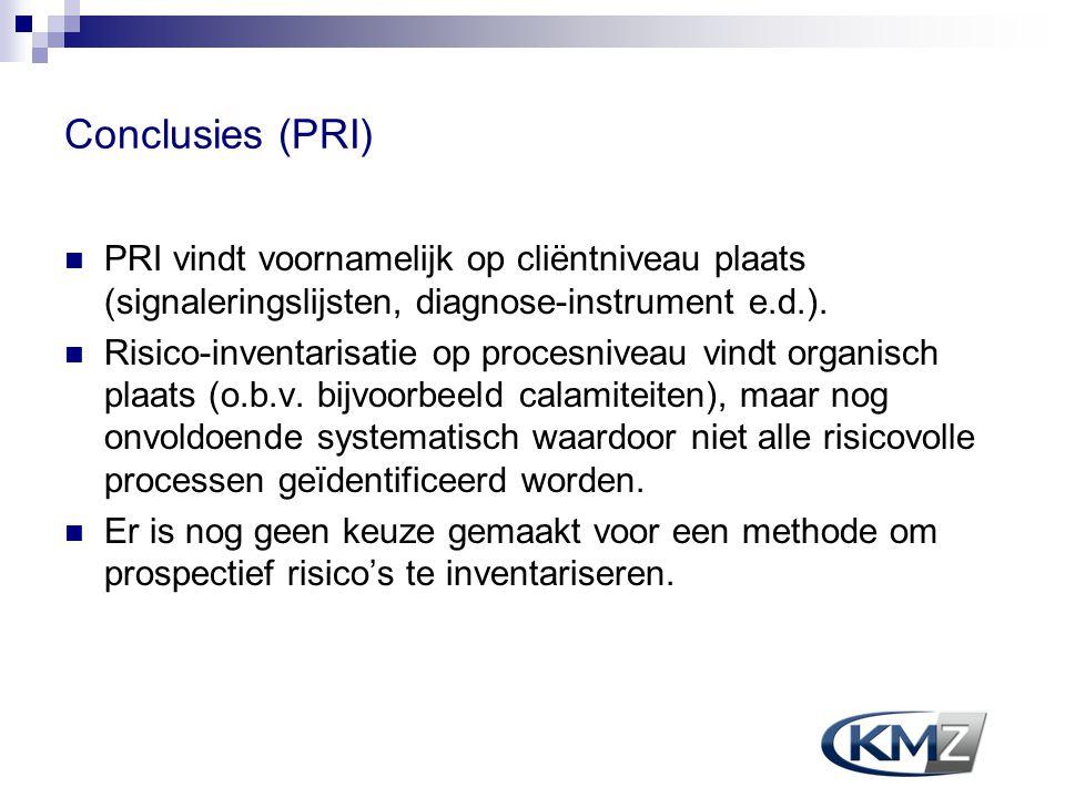 Conclusies (PRI) PRI vindt voornamelijk op cliëntniveau plaats (signaleringslijsten, diagnose-instrument e.d.). Risico-inventarisatie op procesniveau