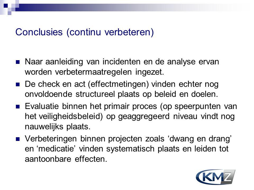 Conclusies (continu verbeteren) Naar aanleiding van incidenten en de analyse ervan worden verbetermaatregelen ingezet. De check en act (effectmetingen