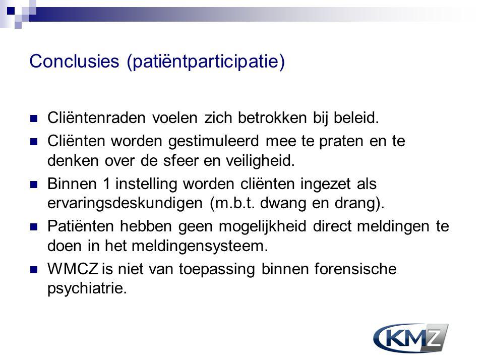 Conclusies (patiëntparticipatie) Cliëntenraden voelen zich betrokken bij beleid. Cliënten worden gestimuleerd mee te praten en te denken over de sfeer